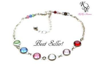 Family Bracelet, Birthstone Bracelet, Grandma Bracelet, Mothers Bracelet, Sterling Silver Bracelet, Birthstone Jewelry, Mothers Jewelry