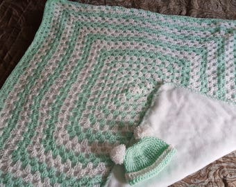 Crochet Baby Blanket (fleece backing) & Hat Combo