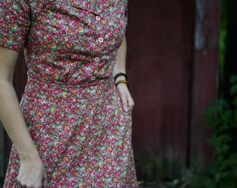 1930's Dress / Vintage Dress / Retro Dress / New Vintage Dress / Handmade Vintage Dress / Shirt Dress / Calico Dress / Depression Era Dress