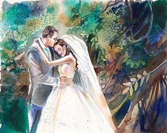 Wedding Gift, Watercolor Painting: 35% Deposit for Custom Wedding Painting Reserved for pfmccue70 by Kristin van Lieshout