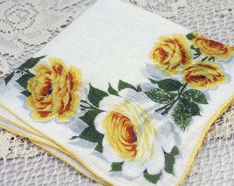 Vintage Hankie, Yellow Roses on White  S-39