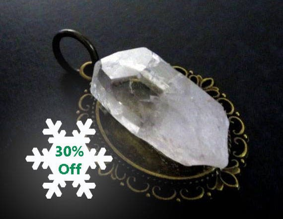 Handmade Bronze Cameo, Double Terminated Clear Quartz Point, Pendant, Raw Crystal Jewelry, Boho Jewelry