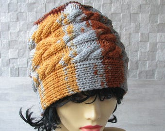 Hand Knit Slouchy Beanie, Winter Hat Kniited Beanie Hat, Knit Hat for Women Knit Hats Women, Colorful