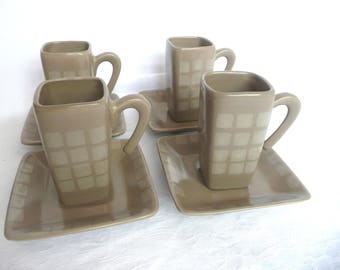 Broste cups and saucers - Danish coffee set - Scandinavian coffee cups and saucers - retro coffee cups and saucers