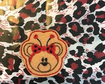 Ladybug bear feltie, bear feltie, ladybug bear, feltie, valentine feltie,