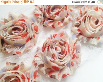 """Summer SALE 10% OFF 2.5"""" PRINTED Shabby Rose Trim- Brown Party Dots - Chiffon Trim - Brown Polka Dots Flowers -Hair Accessories Supplies"""