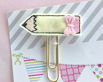 Pink/Yellow/Pencil/Back To School/Felt Applique Paper Clip/Planner Clip/Bookmark/Journal Marker