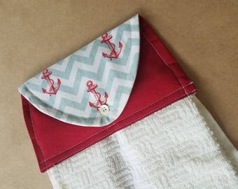 Chevron Anchors Hanging Kitchen Towel, Button Top Dish Towel, Nautical Modern Kitchen Linens, Red, Mint, Cream, Housewarming or Hostess Gift