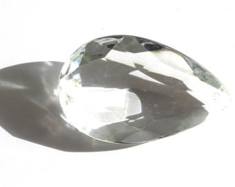 Great old charm faceted transparent glass drilled 65 mm long and 40 mm wide.