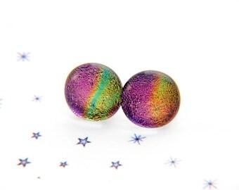 Purple green fused glass dichroic chip Stud Earrings