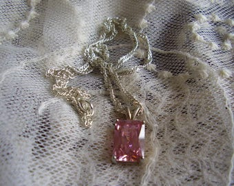 Vintage Silver Necklace/ Pink Ice Crystal Stone