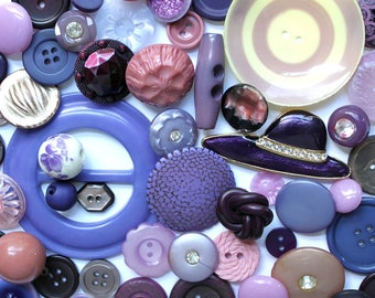 Purple Haze*Vintage and New Purple Mauve Button Lot*Shades of Purple Button Pack*50 Buttons and Buckle