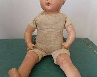 distressed composition baby doll, in need of TLC, fun piece for assemblage or Halloween display