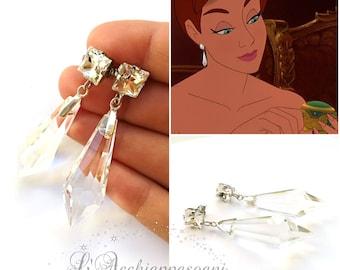 Anastasia Inspired Earrings - Anastasia Romanov Crystal Earrings Swarovski and glass drop Together in Paris Anastasia cosplay blue dress