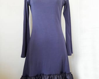 Morgan purple jersey dress and lace Bell sleeves
