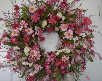 Summer wreath, front door wreath, summer door wreath, outdoor wreath, door wreath summer,housewarming gift, floral wreath,door wreath summer