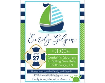 Digital Printable Baby Shower or Birthday Invitation with Nautical Whale and Sail Boat in Navy Blue, Kelly Green and Aqua CPP011