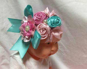 Large Teal and Pink ribbon Bow stretch Hairband for baby