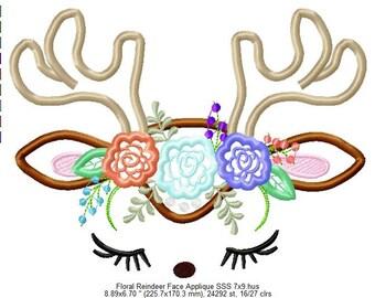 Floral Reindeer -  Embroidered Reindeer Shirt - Christmas shirt - Custom Tee 191b