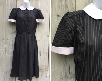 Vintage dress | 1980s John Richard pinstriped schoolgirl maid white collar semi sheer day dress