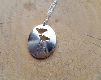 Poppy necklace, Poppy jewelry, Silver Poppy pendant, Remembrance Gift, Silver Flower