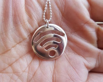Wifi Necklace Pendant, Unisex Jewellery, Computer Jewelry, Geek Necklace