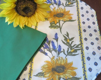 Placemats.Stain resistant and water proof.Perfect hostess gift.Cotton oilcloth fabric . Fabric from Provence, France.Sunflower in white