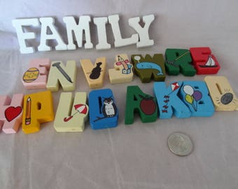 Craft Supplies - Wooden Letters with Pictures