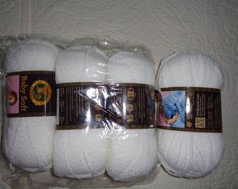 Lion Brand Baby Soft Yarn-White Pompadour