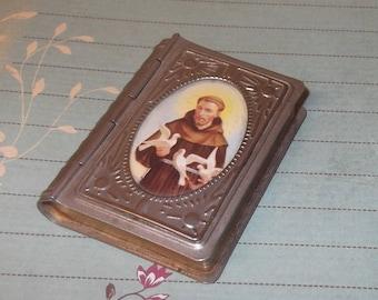 Book Shaped Rosary Box, St Francis of Assisi, Rosary Case, Silver Tone Metal Rosary Holder, S. Francesco, Christian, Catholic