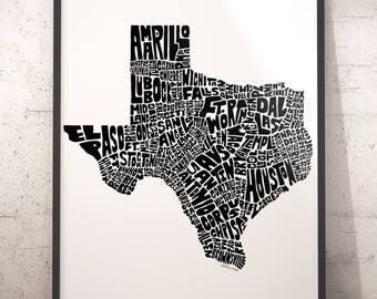 Texas Map Art Texas Art Print Texas Typography Map Map Of - Cities map of texas