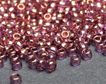 Toho Japanese Glass Round Seed Beads 24 grams 905+ beads, Size 8/0 3mm, Threading hole approx 1.2mm,  Gold Luster Amethyst Pink / Purple