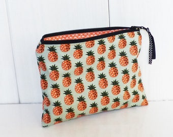 Pouch / clutch fabric patterns PINEAPPLE orange and green water and inside bottom orange