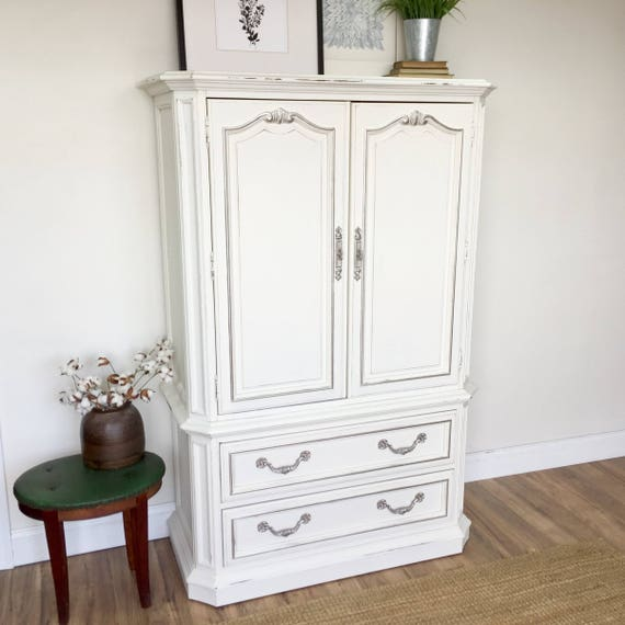 White Armoire - Shabby Chic Furniture - Bedroom Closet - Vintage Wardrobe - Nursery Furniture - Bedroom Cabinet - Vintage Furniture