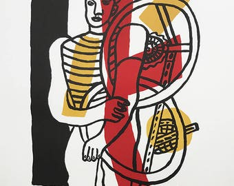 """Fernand Leger Lithograph """"Le Cycliste"""" size 29.5 x 22 inch   -f"""
