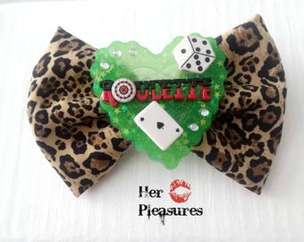 Lady Luck Roulette Las Vegas Showgirl Lucky Cheetah Fabric Hair Bow
