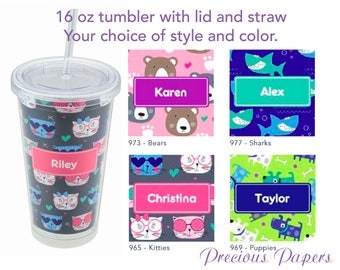 Personalized Tumblers with lid and straw - teenage girl tumbler, tween girl tumbler, teenage girl gifts, shark cup, cat cup, dog cup