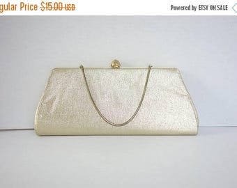ON SALE 1950s Gold Lame Clutch, 50s Gold Purse, 60s Gold Clutch Purse, Snake chain