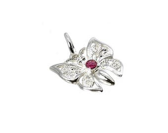 Sterling Silver & Crystal Ruby Filigree Butterfly Charm For Bracelets