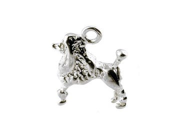 Sterling Silver French Poodle Dog Charm For Bracelets