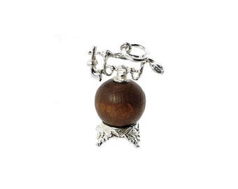 Sterling Silver Lucky Touch Wud Wood Antique Telephone Charm For Bracelets