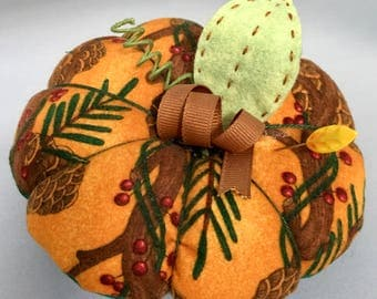 Cute Handmade  Pumpkin Style Pincushion In Fall Pinecone Fabric