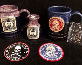 Death Wish Coffee Mugs -George, Abe w/Decanter and George Patch & Rare Pin!