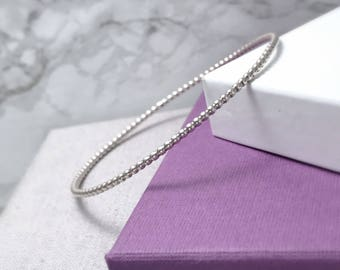 Silver Beaded Bangle | Sterling Silver Stacking Bangle | Gifts For Her | Silver Bangles UK