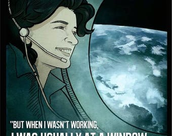 "20% OFF SALE Sally Ride Space Poster - 11""x17"""