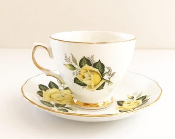 Vintage Tea Cup / Antique - with Yellow Roses / Floral Tea Cup / Gold Trim ~ Made in England~ Cup & Saucer~ Bone China ~colclough