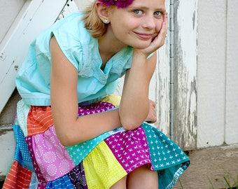 Quick to Ship Little Girls Skirt Little Girls Patchwork Skirt Little Girls Rainbow Skirt Little Girls Twirl Skirt  Girls Colorful Skirt