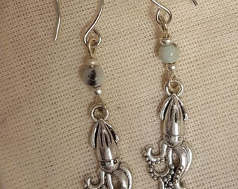 Squid Cephalopod Earrings with Gemstone Beads