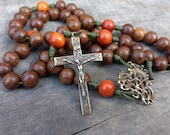 Large men's handmade wood rosary with genuine bronze crucifix and Ave Maria centerpiece, 10mm beads