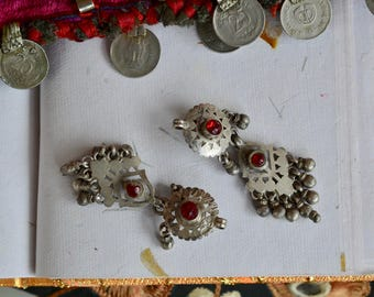 Tribal Indian earrings old long dangle with bells and ruby red glass gems vintage ethnic boho gypsy star discs.